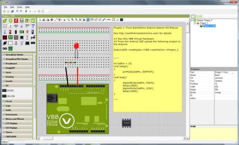 Virtual Breadboard work area