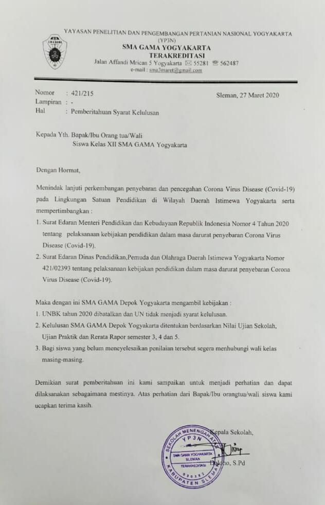 Surat Edaran Kelas Xii Sma Gama Depok Yogyakarta Sma Tiga Maret
