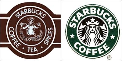 Starbucks original and current logos