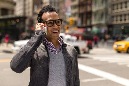Entrepreneur using smartphone