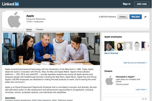 Apple's LinkedIn business profile page
