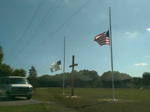 Don took pic of flags at half mast, memorial day, 052415