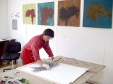 Artist Janis Goodman in studio