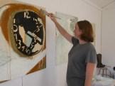 Artist Molly Rausch in studio