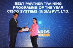 MR. SANJIB MOHAPATA GIVING AWAY OF THE AWARD OF BEST TRAINIG PROGRAMME OF THE YEAR TO CISCO SYSTEMS