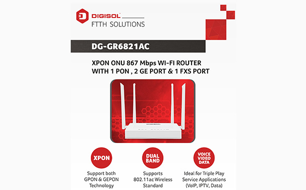DIGISOL Unveils DG-GR6821AC XPON Router for Smart Home Networking