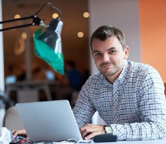 Entrepreneur at laptop