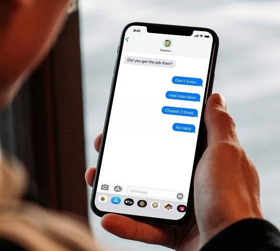 man looking at texts
