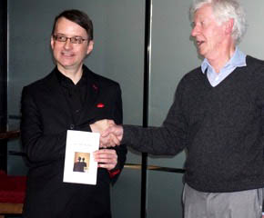 Author Steve Guariento is presented with the 2016 Quagga Prize Silver Medal for Fantasy at Waterstones Bookshop, London (November 5th 2016)