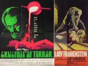UK quad for Crucible of Terror (art: Tom Chantrell), paired with Lady Frankenstein (both 1971).