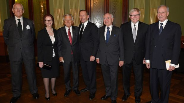 Australia's living former prime ministers at the 2014 memorial service for Labor legend Gough Whitlam in Sydney.