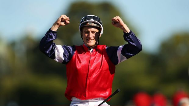 Emotional win: Blake Shinn rode Fenway to victory in the Vinery Stud Stakes at Rosehill on Saturday.