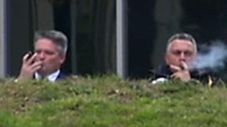 Image result for Corman and Joe Hockey after Abbott's first budget smoking cigars