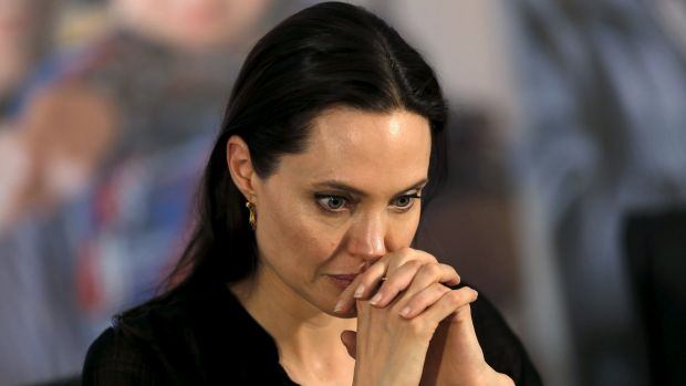 Angelina Jolie visits a Syrian and Iraqi refugee camp in the southern Turkish town of Midyat in Mardin province in June.