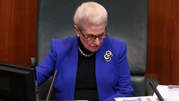 Speaker Bronwyn Bishop during Question Time at Parliament House in Canberra.