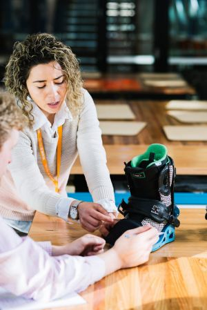 Best foot forward: Deakin university students test design modifications they have made to snowboard bindings.