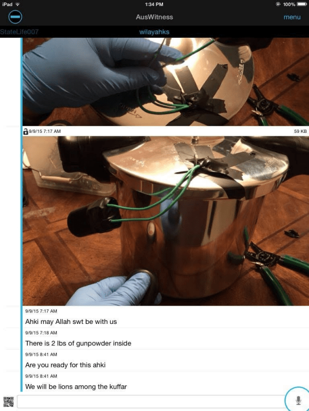 A device which appears to resemble a 'pressure cooker bomb', similar to the type of explosive used in the Boston Marathon Bombings.