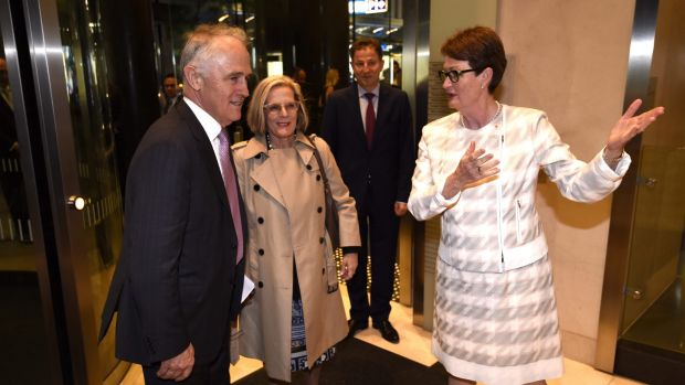 Prime Minister Malcolm Turnbull and his wife Lucy greeted by BCA President Catherine Livingstone at the Business Council of Australia annual dinner.