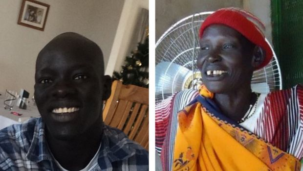 South Sudanese refugee Arop Majok, left, and his mother Akoel. Supplied
