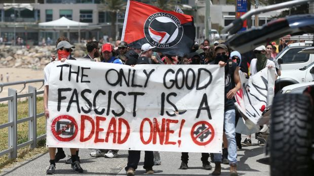 Members of the anti-fascist Antifa group at Cronulla on Saturday.