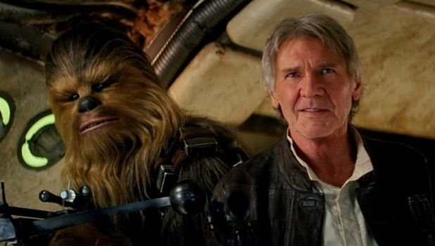 Together again: Chewbacca (Peter Mayhew) and Han Solo (Harrison Ford) return in the new Star Wars film.