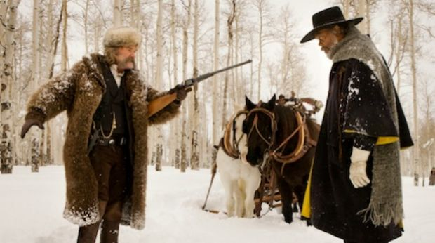 Fun in the snow: Kurt Russell and Samuel L Jackson face off in Quentin Tarantino