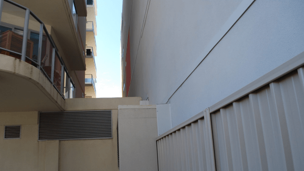 Plunged into darkness: an example of a tower built next to a first-level balcony on Prowse Street, West Perth.