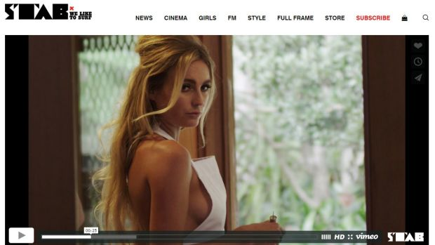 A screenshot from a video on the Stab website, directed by Beren Hall and featuring surfers Alana Blanchard and Jack ...