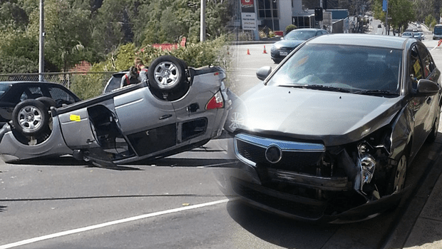 2 car smash in Greensborough send one car soaring onto its roof.