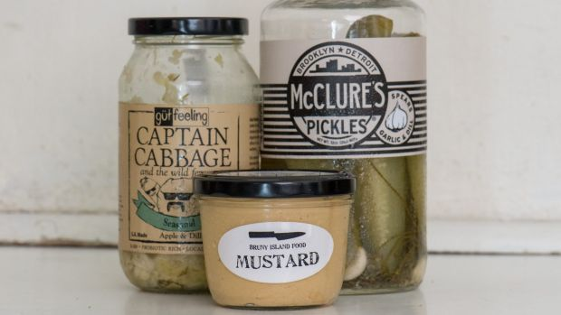 Cabbage, pickles and mustard.