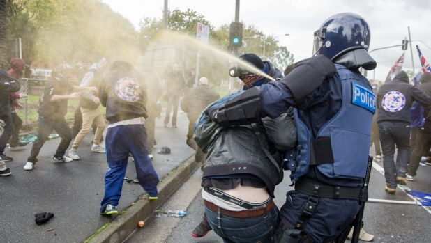 Pepper spray is used to break up brawling.