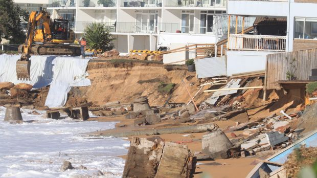 The clean-up continues at Collaroy beach following the weekend's storms.