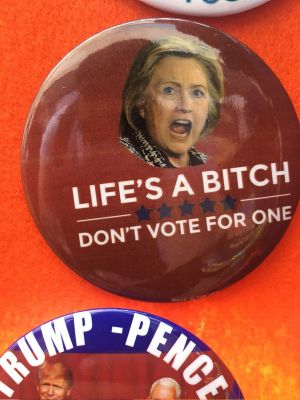 Anti-Hillary Clinton merchandise being sold outside the RNC.