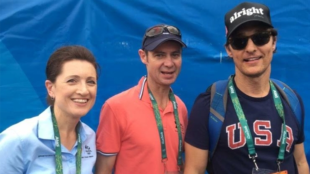 Channel 7 reporter Laurel Irving, Cameraman Rich Hall and Hollywood A-lister Matthew McConaughey!