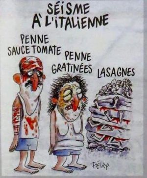 The Charlie Hebdo cartoon depicting Italians as different kinds of pasta.