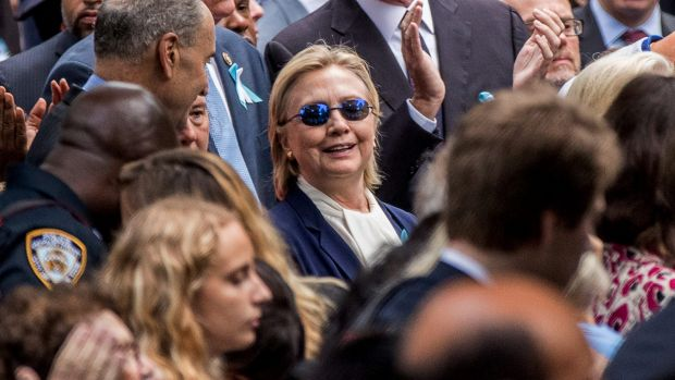 Hillary Clinton at the  September 11 memorial ceremony in New York.
