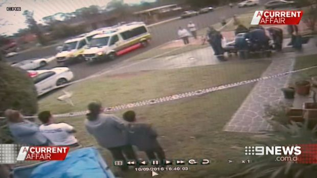 Wayne Greenhalgh is taken away from the scene by paramedics.