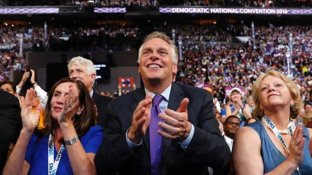Virginia Governor Terry McAuliffe at the Democratic National Convention earlier in the year. The  billionaire ...