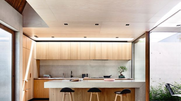 The tiny house in Elwood that Melbourne's Schulberg Demkiw Architects designed. The two bedroom plus study home is situated on a tiny 108 square metre block (about 9 x 12 metres).