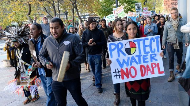Protesters march in Salt Lake City in support of the Standing Rock Sioux against the Dakota Access Pipeline.