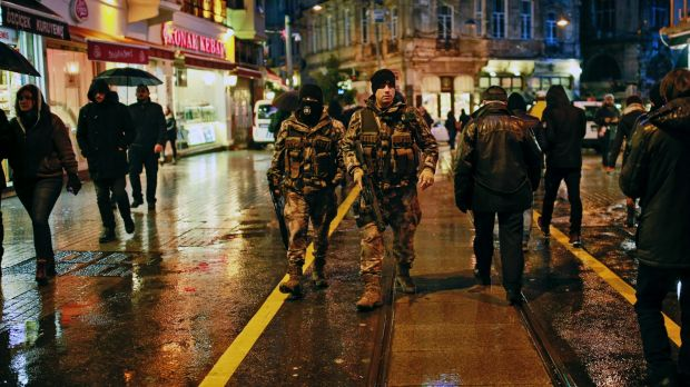 Turkish police patrol in central Istanbul on New Year's Eve.