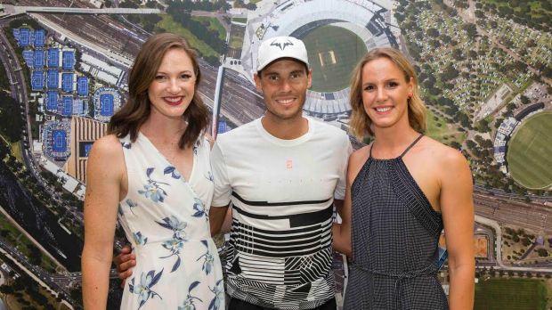 Cate and Bronte Campbell meet Rafael Nadal