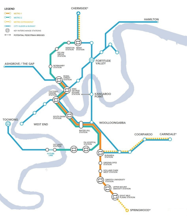 Future extensions to the Brisbane Metro are shown with the broken yellow lines.