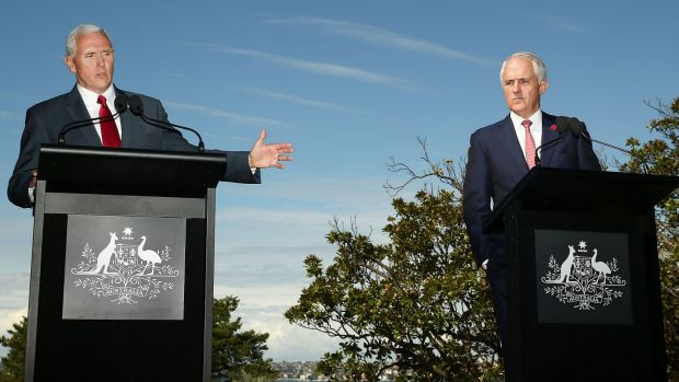 US Vice-President Mike Pence and Prime Minister Malcolm Turnbull at a press conference at Kirribilli House last week.