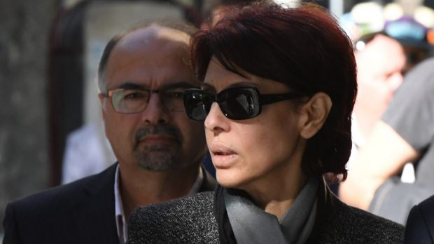 Former Australian of the Year finalist Eman Sharobeem arrives at the ICAC with her husband Haiman Hammo on Wednesday.