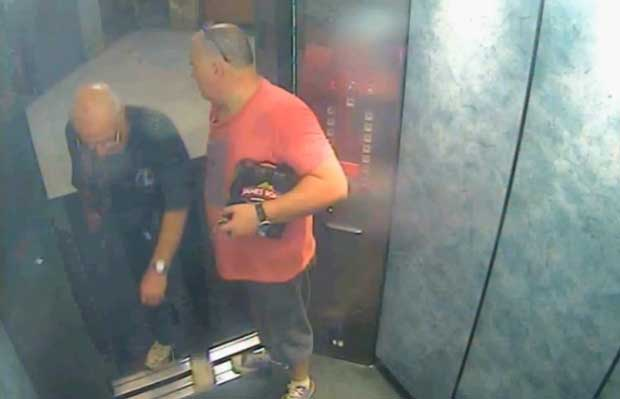 Rogerson and McNamara share a six pack of James Boag's cctv still