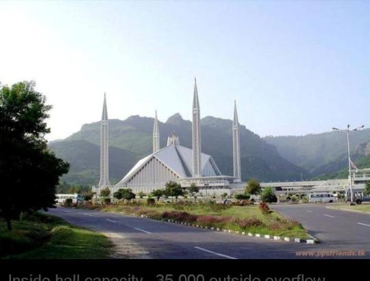 Shah Feisal mosque... Islamabad .. Pakistan. Inside hall capacity ..35,000 outside overflow capacity.. 150,000