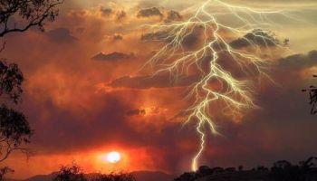 Lightning in the sunset