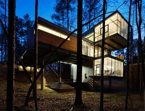Ultramodern Cantilevered Forest Home