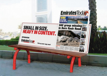 Emirates Today Bench Advertisement